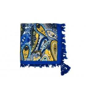 Granatowa Duża ludowa chusta z frędzlami MODNA Folk wzory Apaszka B36