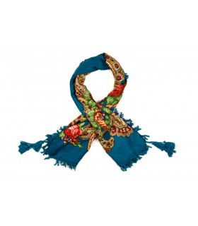 Niebieska chusta damska modna folk wzór kwiaty frędzle D18