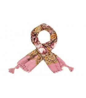 Różowa chusta damska modna folk wzór kwiaty frędzle D18