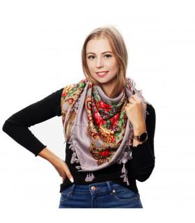 Szara chusta damska modna folk wzór kwiaty frędzle D18