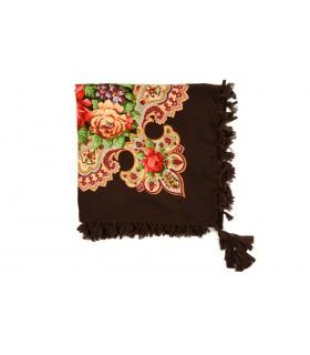 Brązowa chusta damska modna folk wzór kwiaty frędzle D18