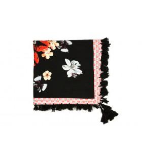 Czarna chusta damska modna kwiatowa frędzle duża D20
