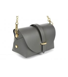 SZARA mała włoska skórzana damska torebka wieczorowa na łańcuszku P45