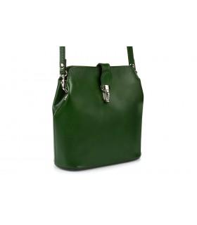 Ciemno-zielona torebka skórzana włoska mała lekka przewieszka T02