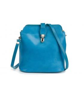 Niebieska torebka skórzana włoska mała lekka przewieszka T02
