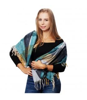 Szalik damski kolorowy modny w kratę cieplutki szal frędzle D22