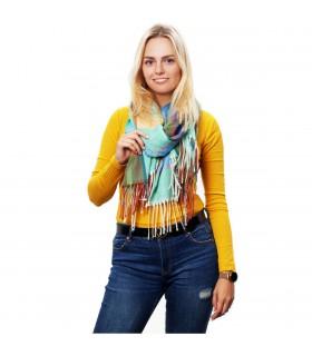 Miętowy Szalik damski kolorowy modny w kratę cieplutki szal frędzle D23