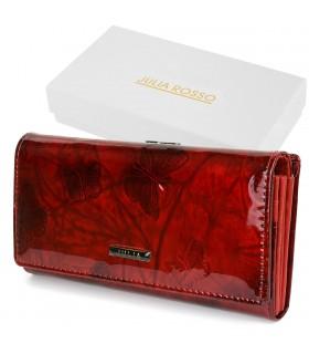 J. Rosso Portfel Skórzany damski duży Pudełko czerwony T81