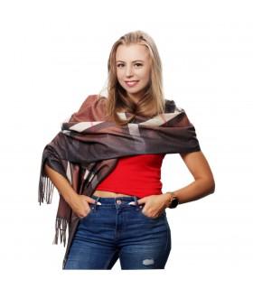 Brązowy Szalik damski w kratę modny szal chusta frędzle D25