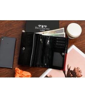 Damski portfel skórzany czarny duży RFiD Beltimore 036