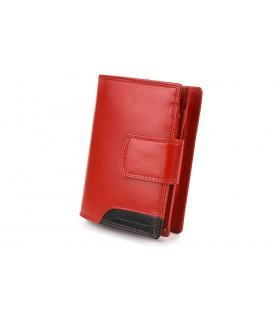 Damski skórzany portfel duży pionowy RFiD czerwony BELTIMORE 039