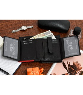 Damski skórzany portfel duży pionowy RFiD czarny BELTIMORE 039