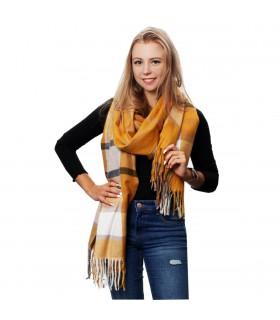 Żółty Szalik damski modny szal ciepły w kratę elegancki D27