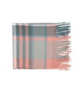 Różowy Szalik damski modny szal ciepły w kratę elegancki D27