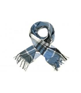 Niebieski Szalik damski modny szal ciepły w kratę elegancki D27