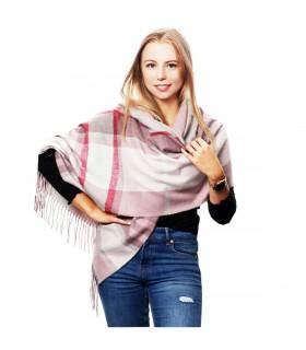Brudno- różowy Szalik damski modny szal ciepły w kratę elegancki D27