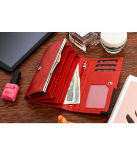 Damski skórzany portfel duży poziomy z biglem RFiD czerwony BELTIMORE 038