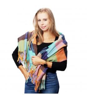 Szalik damski modny szal ciepły w kratę elegancki duży D28