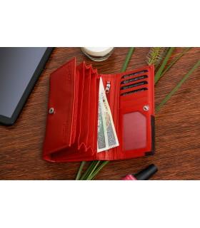 Damski skórzany portfel duży poziomy na suwak RFiD czerwony BELTIMORE 042
