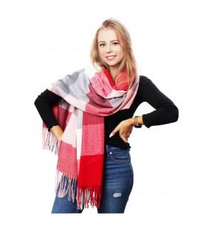 Szalik damski modny szal ciepły w kratę elegancki duży D30