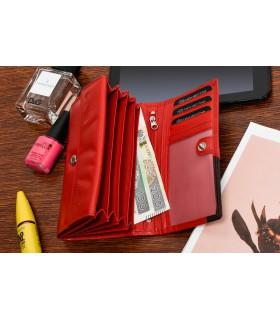 Damski skórzany portfel duży poziomy retro RFiD czerwony BELTIMORE 043