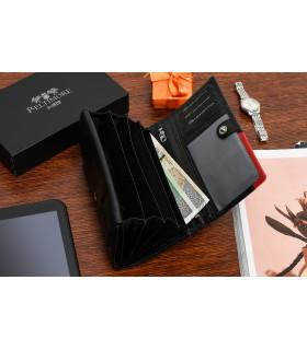 Damski skórzany portfel duży poziomy retro RFiD czarny BELTIMORE 043