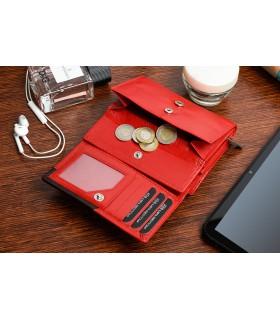 Damski portfel skórzany czerwony duży RFiD Beltimore 036