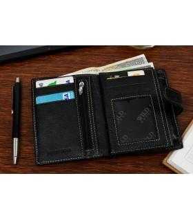 Czarny portfel skórzany vintage duży Wild Horse RFiD I44