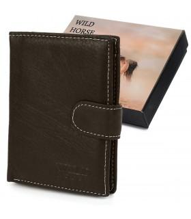 Brązowy portfel skórzany vintage duży Wild Horse RFiD I44