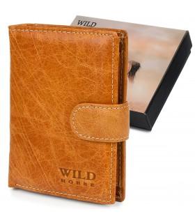 Portfel skórzany vintage jasny brąz duży Wild Horse RFiD I44