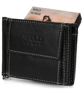 Portfel męski skórzany mały czarny z wsuwką na banknoty RFiD Wild Horse L47