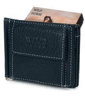 Portfel męski skórzany mały granatowy z wsuwką na banknoty RFiD Wild Horse L47
