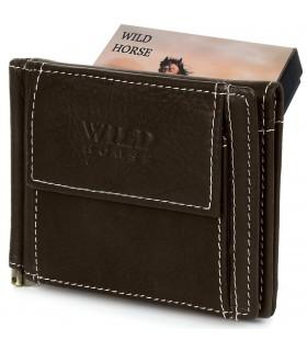 Portfel męski skórzany mały ciemnobrązowy z wsuwką na banknoty RFiD Wild Horse L47