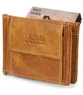 Portfel męski skórzany mały koniakowy z wsuwką na banknoty RFiD Wild Horse L47