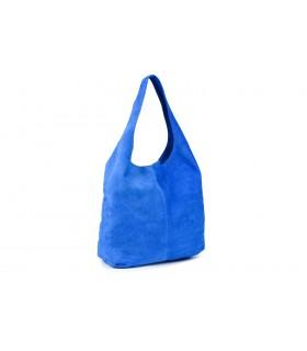 zamszowa torebka skórzana na ramię z saszetką chabrowa N88