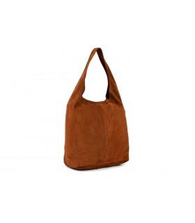 Brązowa zamszowa torebka damska skórzana na ramię z saszetką N88
