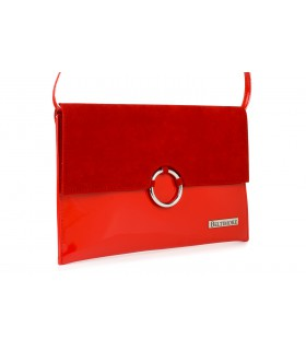 Czerwona oryginalna damska torebka kopertówka na pasku usztywniana W63