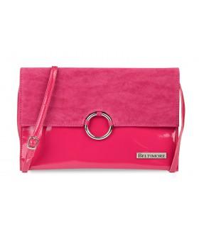 Różowa oryginalna damska torebka kopertówka na pasku usztywniana W63
