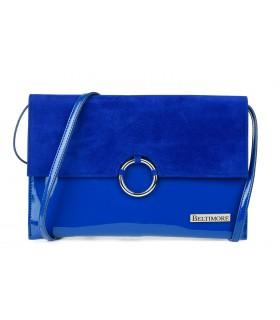 Niebieska oryginalna damska torebka kopertówka na pasku usztywniana W63