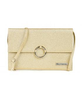 Złota brokatowa oryginalna damska torebka kopertówka na pasku usztywniana W63