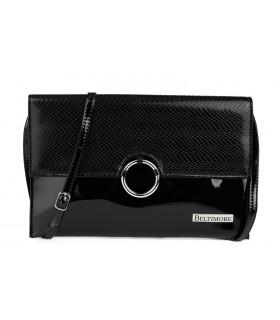 Czarna oryginalna damska torebka kopertówka na pasku usztywniana W63