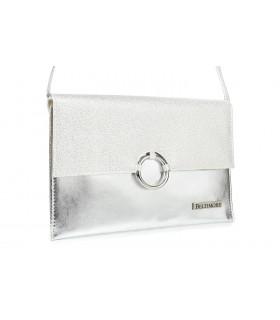 Srebrna oryginalna damska torebka kopertówka na pasku usztywniana W63