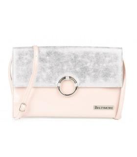 Różowo- srebrna oryginalna damska torebka kopertówka na pasku usztywniana W63