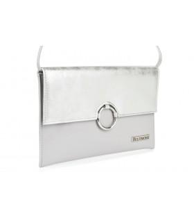 Szaro- srebrna oryginalna damska torebka kopertówka na pasku usztywniana W63
