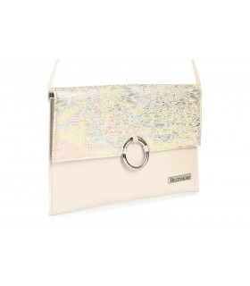 Różowo- kolorowa oryginalna damska torebka kopertówka na pasku usztywniana W63