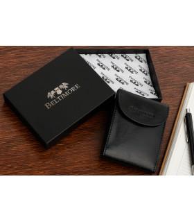 Czarne etui na dokumenty skórzane okładki portfel Beltimore G90