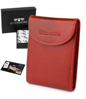 Etui na wizytówki czerwone skórzane okładki portfel Beltimore G90