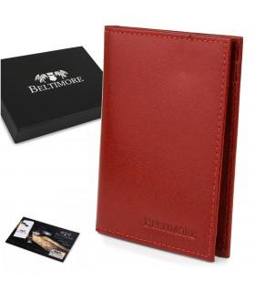 Etui na dokumenty karty czerwone skórzane slim Beltimore G95