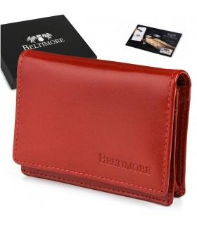 Etui na wizytówki karty czerwone skórzane portfel slim Beltimore G94