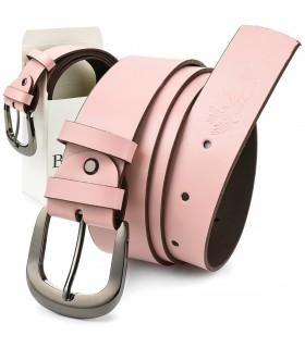 Beltimore skórzany damski pasek do spodni 4 cm różowy A70